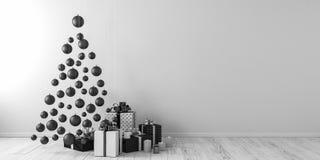 Το ντεκόρ Χριστουγέννων και άσπρος τρισδιάστατος δώρων δίνουν τη χλεύη επάνω Στοκ Εικόνες