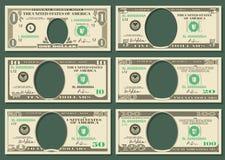 Το νόμισμα δολαρίων σημειώνει τα διανυσματικά πρότυπα χρημάτων ελεύθερη απεικόνιση δικαιώματος