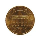 το νόμισμα 50 σεντ, Ευρωπαϊκή Ένωση, Γερμανία απομόνωσε πέρα από το λευκό Στοκ εικόνα με δικαίωμα ελεύθερης χρήσης