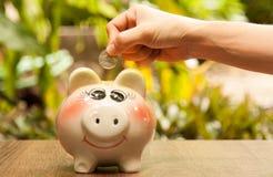 Το νόμισμα στο ανθρώπινο χέρι βάζει στη piggy τράπεζα με garde Στοκ φωτογραφίες με δικαίωμα ελεύθερης χρήσης