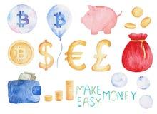 Το νόμισμα Watercolor έθεσε: bitcoin, δολάριο, ευρώ, λίβρα πραγματική αντανάκλαση χρημάτων σπιτιών κτημάτων έννοιας Απεικόνιση γι απεικόνιση αποθεμάτων