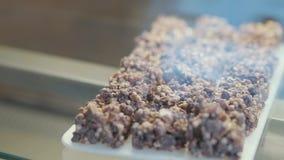 Το νόστιμο γλυκό επιδόρπιο, τα κομμάτια της σοκολάτας και τα καρύδια αναμιγνύουν να βρεθούν στον πίνακα κοντά επάνω Εξυπηρέτηση τ φιλμ μικρού μήκους
