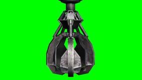 Το νύχι εκσκαφέων κλείνει και ανοίγεται - πράσινη οθόνη απεικόνιση αποθεμάτων