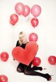 Το ξανθό κορίτσι έντυσε ως playboy λαγουδάκι για την ημέρα του βαλεντίνου Στοκ φωτογραφίες με δικαίωμα ελεύθερης χρήσης