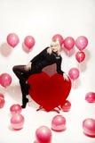 Το ξανθό κορίτσι έντυσε ως playboy λαγουδάκι για την ημέρα του βαλεντίνου Στοκ Εικόνα