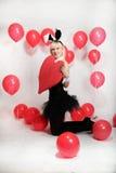Το ξανθό κορίτσι έντυσε ως playboy λαγουδάκι για την ημέρα του βαλεντίνου Στοκ εικόνες με δικαίωμα ελεύθερης χρήσης