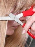 Το ξανθό κορίτσι κάνει τη νέα εικόνα τρίχας Στοκ φωτογραφία με δικαίωμα ελεύθερης χρήσης