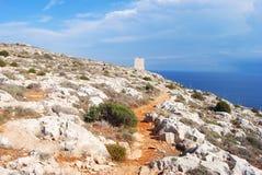 Το ξηρό της Μάλτα τοπίο και μια φύση σύρουν την οδήγηση στο παρατηρητήριο στην περιοχή που περιβάλλει το ναό Mnajdra Στοκ φωτογραφία με δικαίωμα ελεύθερης χρήσης