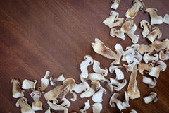 Το ξηρό boletus μανιτάρι τεμαχίζει τη σύσταση υποβάθρου τροφίμων Στοκ Φωτογραφίες