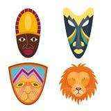 Το ξύλινο διάνυσμα χρωμάτισε την αφρικανική φυλετική εθνική απεικόνιση πολιτισμού αναμνηστικών ειδώλων τεχνών μασκών διανυσματική απεικόνιση