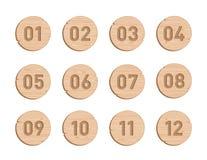 Το ξύλινο σημείο σφαιρών περιβάλλει τον αριθμό 1 έως 12 διανυσματικό σύνολο ελεύθερη απεικόνιση δικαιώματος