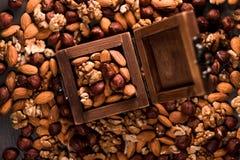 Το ξύλινο σύνολο κιβωτίων των καρυδιών και των καρυδιών διασκόρπισε γύρω, φουντούκια, ξύλα καρυδιάς και αμύγδαλα Στοκ Φωτογραφία