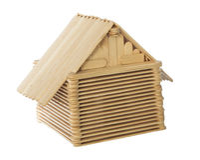 Το ξύλινο εγχώριο πρότυπο ραβδιών απομόνωσε το άσπρο υπόβαθρο Στοκ Εικόνες
