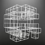 Το ξύλινο πλαίσιο φιαγμένο από χωρίζει σε τετράγωνα στις προοπτικές Το υπόβαθρο των αντικειμένων οθόνης Στοκ Εικόνα