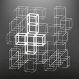 Το ξύλινο πλαίσιο φιαγμένο από χωρίζει σε τετράγωνα στις προοπτικές Το υπόβαθρο των αντικειμένων οθόνης Στοκ φωτογραφία με δικαίωμα ελεύθερης χρήσης