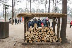 Το ξύλο συνδέεται το καταφύγιο έτοιμο για να φλεθεί για να κρατήσει τους ανθρώπους θερμούς το χειμώνα στοκ φωτογραφία