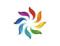 Το λογότυπο λουλουδιών ήλιων, αφαιρεί το floral φυσικό εικονίδιο, σύμβολο στοιχείων κύκλων Στοκ Φωτογραφία