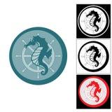 Το λογότυπο του τιμονιού seahorse και θάλασσας Στοκ Φωτογραφία