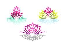 Το λογότυπο Lotus, γιόγκα γυναικών, μασάζ λουλουδιών ομορφιάς, όμορφη αίσθηση SPA, wellness αντανάκλασης, και φυσικός χαλαρώνει τ διανυσματική απεικόνιση