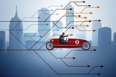 Το οδηγώντας αθλητικό αυτοκίνητο επιχειρηματιών που επιλέγει τις διαφορετικές πορείες σταδιοδρομίας Στοκ εικόνα με δικαίωμα ελεύθερης χρήσης