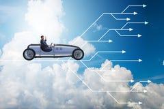 Το οδηγώντας αθλητικό αυτοκίνητο επιχειρηματιών που επιλέγει τις διαφορετικές πορείες σταδιοδρομίας Στοκ Φωτογραφία
