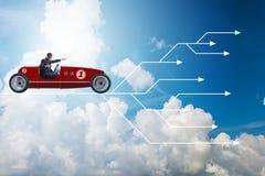 Το οδηγώντας αθλητικό αυτοκίνητο επιχειρηματιών που επιλέγει τις διαφορετικές πορείες σταδιοδρομίας Στοκ εικόνες με δικαίωμα ελεύθερης χρήσης