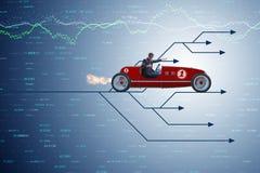 Το οδηγώντας αθλητικό αυτοκίνητο επιχειρηματιών που επιλέγει τις διαφορετικές πορείες σταδιοδρομίας Στοκ Εικόνα