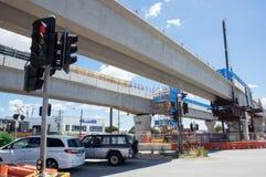 Το οδικό ισόπεδο πέρασμα του Clayton που αντικαθίσταται από το skyrail ανύψωσε τις διαδρομές τραίνων στο Clayton, Μελβούρνη Στοκ φωτογραφίες με δικαίωμα ελεύθερης χρήσης