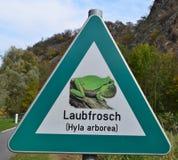 Το οδικό σημάδι δίνει έμφαση στην παρουσία πράσινου άξονα hyla βατράχων δέντρων Στοκ εικόνα με δικαίωμα ελεύθερης χρήσης