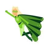 Το οικολογικό superhero που η ξανθή γυναίκα στο πράσινο κοστούμι που πετά μέσω του αέρα στο superhero θέτει με το χέρι, έννοια VE διανυσματική απεικόνιση