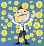 το οικονομικό κορίτσι δολαρίων κρατά την επιτυχία ευχαρίστησης πακέτων διανυσματική απεικόνιση