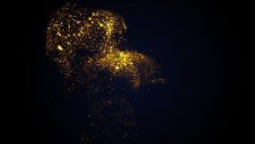 Το ομαλό χρυσό ρεύμα πολυτέλειας ρέει αργά στο μαύρο υπόβαθρο r στοκ εικόνες