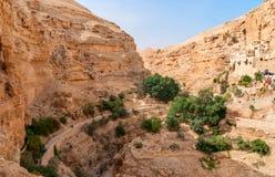 Το ορθόδοξο μοναστήρι του ST George βρίσκεται σε Wadi Qelt στοκ εικόνες