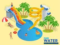 Το οριζόντιο έμβλημα Ιστού Aquapark με το διαφορετικό νερό γλιστρά, πάρκο οικογενειακού νερού, σωλήνες λόφων και isometric διάνυσ απεικόνιση αποθεμάτων