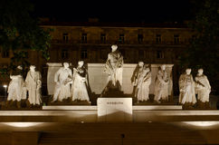 Το ουγγρικό κτήριο του Κοινοβουλίου με το φωτεινό και όμορφο illu Στοκ Εικόνες