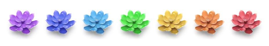 Το ουράνιο τόξο χρωματίζει τα λουλούδια Lotus Απεικόνιση αποθεμάτων