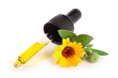 Το ουσιαστικό πετρέλαιο Aromatherapy με marigold τα λουλούδια απομόνωσε το άσπρο υπόβαθρο Στοκ Φωτογραφίες