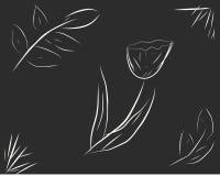 Το λουλούδι και τα φύλλα σε ένα μαύρο υπόβαθρο Στοκ εικόνα με δικαίωμα ελεύθερης χρήσης