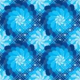Το λουλούδι περιστρέφεται άνευ ραφής σχέδιο μορφής διαμαντιών ανεμόμυλων το μπλε Στοκ Φωτογραφίες