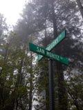 Το οδικό σημάδι και το δάσος κοιτάζουν Στοκ Εικόνες