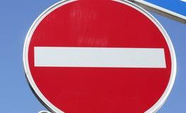 Το οδικό σημάδι καμία είσοδος, δεν εισάγεται στοκ εικόνες