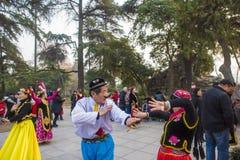 Το πάρκο λιμνών xuanwu στην επαρχία jiangsu, υπάρχει μια ομάδα ανθρώπων που αγαπά του χορού xinjiang, χορεύοντας συχνά ευτυχώς Στοκ εικόνα με δικαίωμα ελεύθερης χρήσης