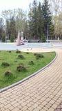 Το πάρκο στην ημέρα πόλης καλοκαιριού και το πουλί περπατούν στοκ εικόνες