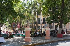 Το πάρκο Hidalgo στο ιστορικό κέντρο του Μέριντα, Yucatan, Μεξικό Στοκ εικόνες με δικαίωμα ελεύθερης χρήσης