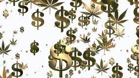 Το πέταγμα των σημαδιών και των καννάβεων ΑΜΕΡΙΚΑΝΙΚΩΝ δολαρίων βγάζει φύλλα απεικόνιση αποθεμάτων