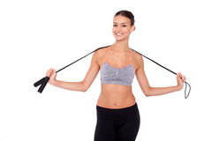 Το πήδημα είναι ο τρόπος της να τελειοποιήσει το σώμα! Στοκ εικόνες με δικαίωμα ελεύθερης χρήσης