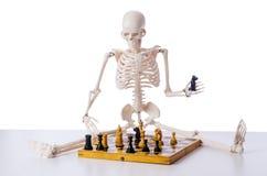 Το παίζοντας παιχνίδι σκακιού σκελετών στο λευκό Στοκ φωτογραφία με δικαίωμα ελεύθερης χρήσης