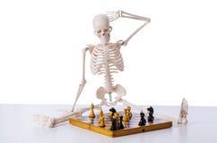 Το παίζοντας παιχνίδι σκακιού σκελετών στο λευκό Στοκ Φωτογραφία