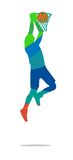 Το παίχτης μπάσκετ πηδά και ρίχνει τη σφαίρα σε ένα basketplayer ελεύθερη απεικόνιση δικαιώματος