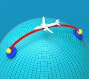 Το παγκόσμιο ταξίδι σημαίνει συνολικά τις πτήσεις και σφαιρικός ελεύθερη απεικόνιση δικαιώματος